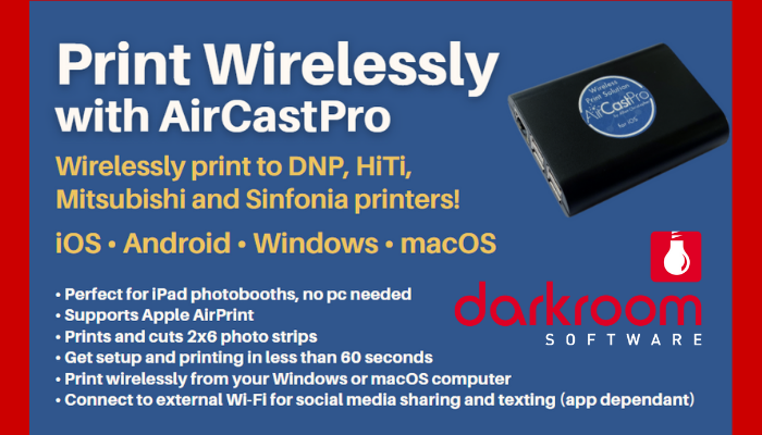 Wireless printing with the AirCastPro and Darkroom Booth for iPad